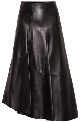 Brunello Cucinelli Asymmetrical leather midi skirt