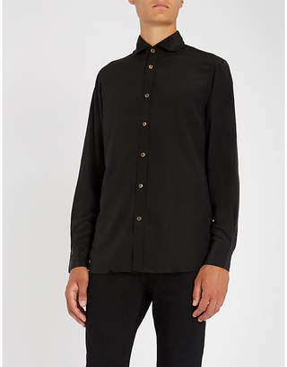 MAXIMILIAN ROBINSON The Midnight Black contrast-trim regular-fit silk shirt