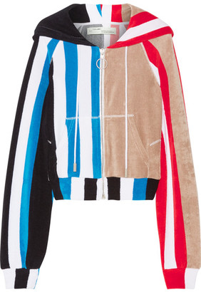 Off-White - Striped Printed Cotton-terry Hooded Top - Red $815 thestylecure.com