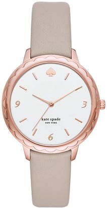 Kate Spade Women Scallop Gray Leather Strap Watch 38mm