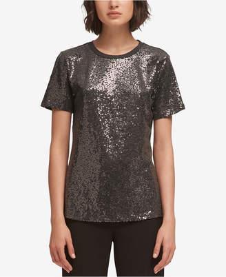 DKNY Sequin-Embellished Crew-Neck T-Shirt