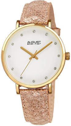 August Steiner Womens Gold Tone Strap Watch-As-8258yg