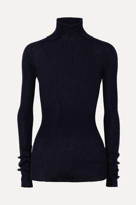 Jil Sander Ribbed Cashmere And Silk-blend Turtleneck Sweater - Navy