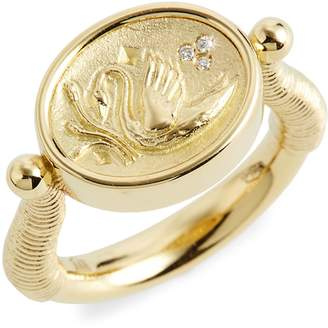 Temple St. Clair Object Trouve Swan Coin Diamond Ring