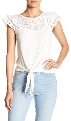 June & Hudson Crochet Lace Cap Sleeve Front Tie Blouse