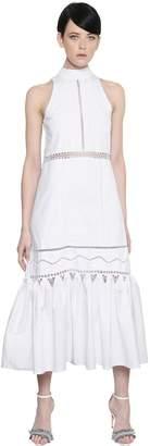Jonathan Simkhai Lace Details Ruffled Cotton Poplin Dress