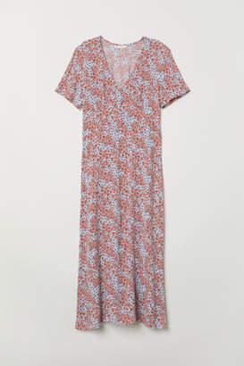 H&M V-neck Viscose Dress - Blue