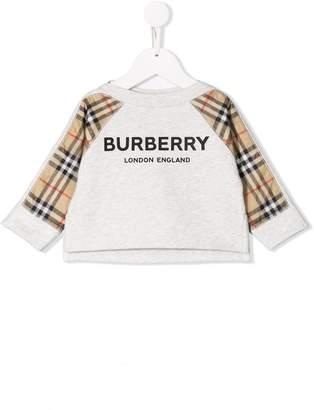 Burberry check-panelled sweatshirt