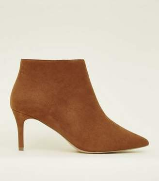 New Look Wide Fit Tan Suedette Stiletto Heel Ankle Boots