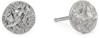 Made In Italy Sterling Silver Hammered Disc Post Earrings