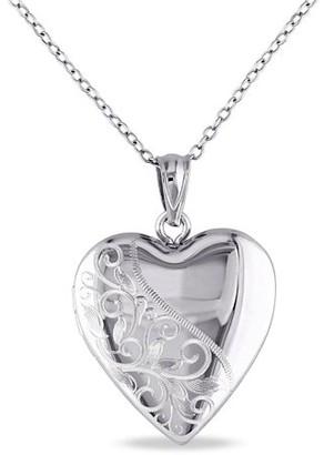 "Asteria Sterling Silver Heart Locket Women's Pendant Necklace, 18"""