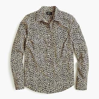 J.Crew Petite slim stretch perfect shirt in leopard print