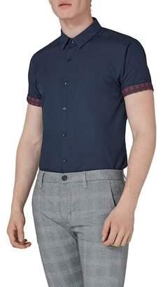 Topman Short Sleeve Collar Print Shirt