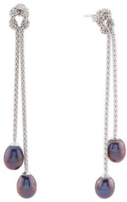 Sterling Silver Peacock Pearl Popcorn Chain Linear Earrings