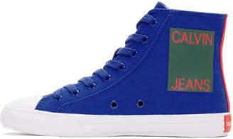 Calvin Klein Blue Canvas Canter High-Top Sneakers