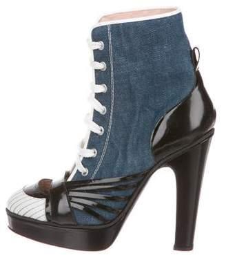 Jean Paul Gaultier Denim Lace-Up Booties