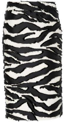 Oscar de la Renta Zebra-Print Silk Fil Coupé Midi Skirt Size: 4