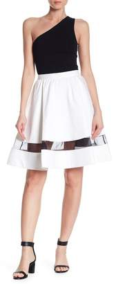 Alice + Olivia Lotus Mesh Trim Skirt