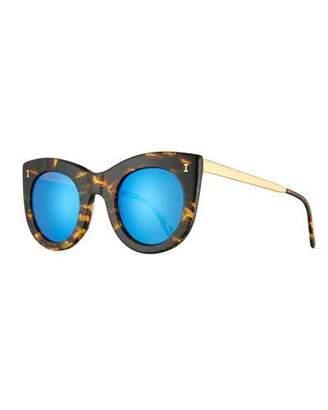 Illesteva Boca II Mirrored Cat-Eye Sunglasses, Forest/Blue $220 thestylecure.com