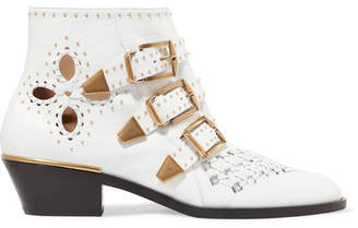 Chloé Susanna Cutout Studded Leather Ankle Boots - White