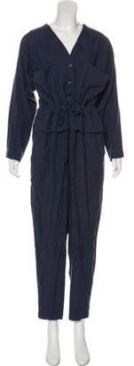 Black Crane Long Sleeve Button-Up Jumpsuit