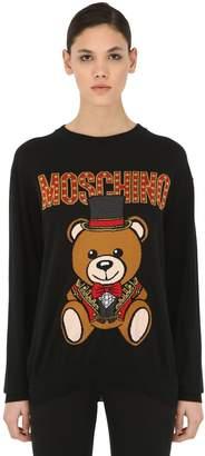 Moschino Logo Intarsia Cotton Knit Sweater
