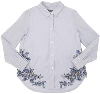 Ermanno Scervino Embroidered Stripe Stretch Poplin Shirt