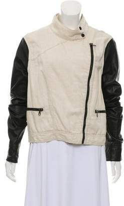 Rag & Bone Leather-Accented Zip-Up Jacket