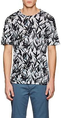Theory Men's Clean Leaf-Print Slub Linen T-Shirt