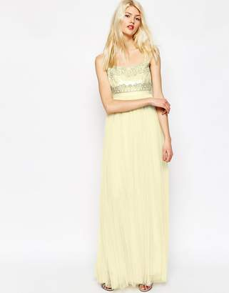 Needle & Thread Strappy Backless Tulle Embellished Maxi Dress