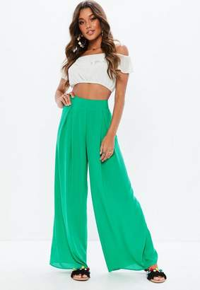 Missguided Green High Waisted Wide Leg Pants