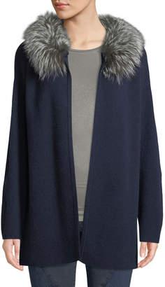 Neiman Marcus Fur-Collar Cashmere Cardigan