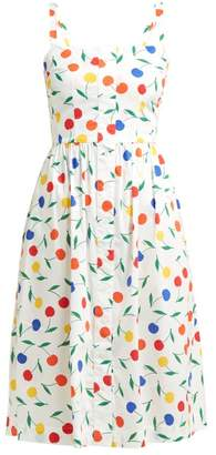 HVN Laura Cherry Print Cotton Blend Dress - Womens - White Multi