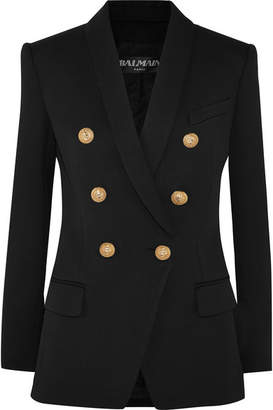 Balmain - Double-breasted Wool-twill Blazer - Black $2,090 thestylecure.com