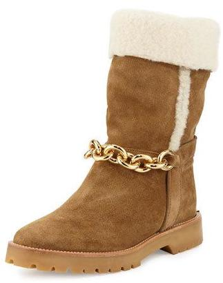 Burberry Raywood Fur-Cuff Ankle-Chain Boot, Light Oak Brown $537 thestylecure.com