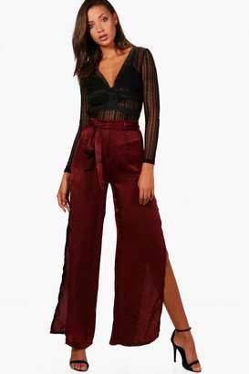 boohoo Tall Avery Satin Wide Split Leg Trouser