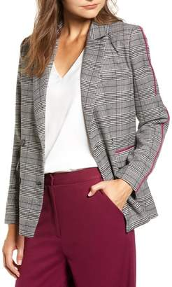 CHRISELLE LIM COLLECTION Chriselle Lim Bianca Piped Houndstooth Blazer