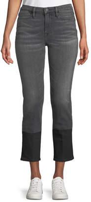Frame Le High Straight-Leg Cropped Jeans w/ Coated Hem