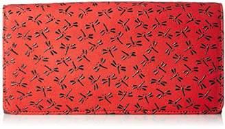 Aries [アリエス] 日本製印伝長財布 がま口小銭入れ付 1210-90 RD/BK 赤×黒とんぼ