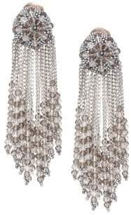 Oscar de la Renta Beaded Chain Cluster Drop Clip-On Earrings