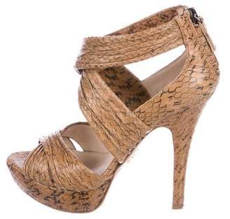 Prada Snakeskin Crossover Sandals