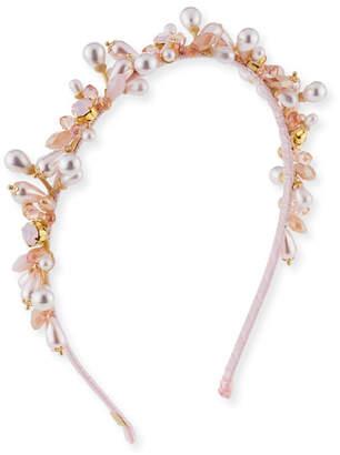 Bari Lynn Girls' Jeweled Headband, Pink