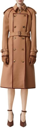 Burberry WOOL & CASHMERE TRENCH COAT W/LEATHER