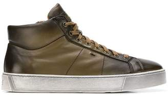 Santoni lace-up mid-top sneakers