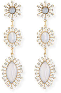 Sequin Crystal Bezel Three-Drop Earrings