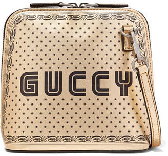 Gucci Guccy Printed Metallic Leather Shoulder Bag