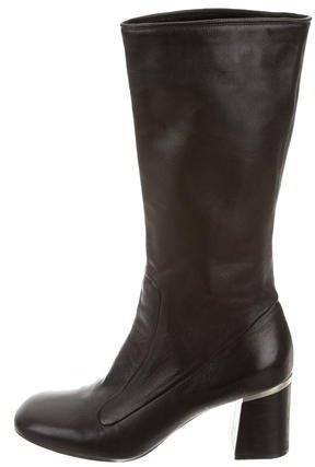 CelineCéline Leather Mid-Calf Boots
