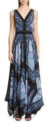 Altuzarra Scarf Print V-Neck Silk Maxi Dress