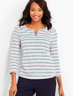 Talbots Stripe Notch-Neckline Tee