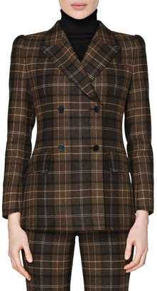SUISTUDIO Alex Plaid Double Breasted Roped Shoulder Wool & Cashmere Jacket